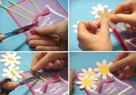 С помощью ленточки можно украсить стебли. Останется только закрепить сами цветы. Для этого вы можете использовать двусторонний скотч.