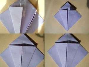 Возьмите квадратный лист бумаги, сложите его два раза по диагонали. Потом разложите и сформируйте треугольник по линиям изгиба. Потом нужно острые углы загнуть к тупым и у вас получится квадрат. Нижние боковые стороны сгибаются к центру и закрепляются скотчем или клеем. Если все сделать правильно, то получится бутон тюльпана.