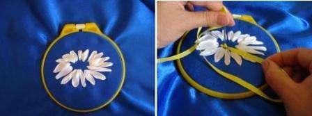 Серцевину ромашки можно вышивать узелками. Для этого наматывайте ленту на иголку в два оборота, а потом продевайте через ткань. Заполните таким методом полностью серцевинку.