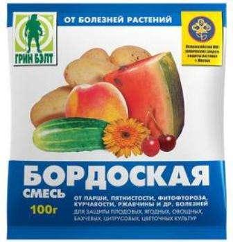 В качестве дезинфицирующего средства используется бордоская смесь, которая состоит из извести и медного купороса