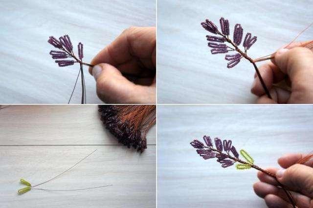 Указанного количества материалов хватит на цветок с 19 веточками. Можно и больше. Не нужно отбирать бисер по размеру, по форме из одной пачки