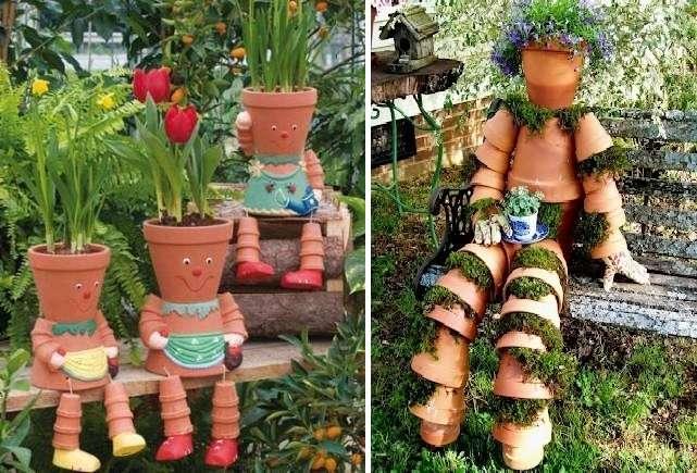 У любителей комнатных растений достаточно часто остаются не нужные цветочные горшки. Попробуйте из них сделать украшение для сада.