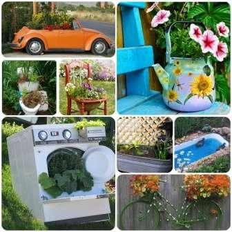 Даже унитаз, ванна и стиральная машина могут пригодиться для украшения дачного участка. В любую емкость легко засадить цветы или сделать из нее прудик.
