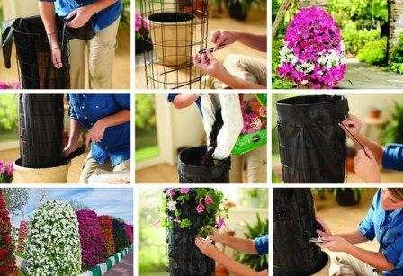 Особой популярностью пользуются вертикальные цветники и клумбы, которые соорудить можно из цветочных вазонов или деревянных паллет.