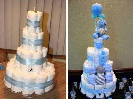 Лентами можно закрыть резинки на торте. Часто для этой же цели используют пеленки. Чтобы лента хорошо закрепилась, используйте двусторонний скотч