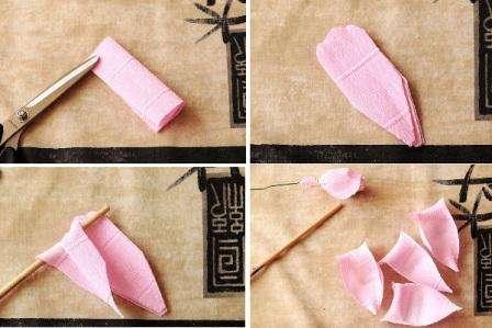 Растяните в центре гофро бумагу, чтобы конфета хорошо у в ней поместилась. Лучше всего использовать трюфеля в обертке,