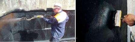 Изоляция жидкой резиной, подразумевает нанесения полимеров или битума на стены и пол. Поверхность
