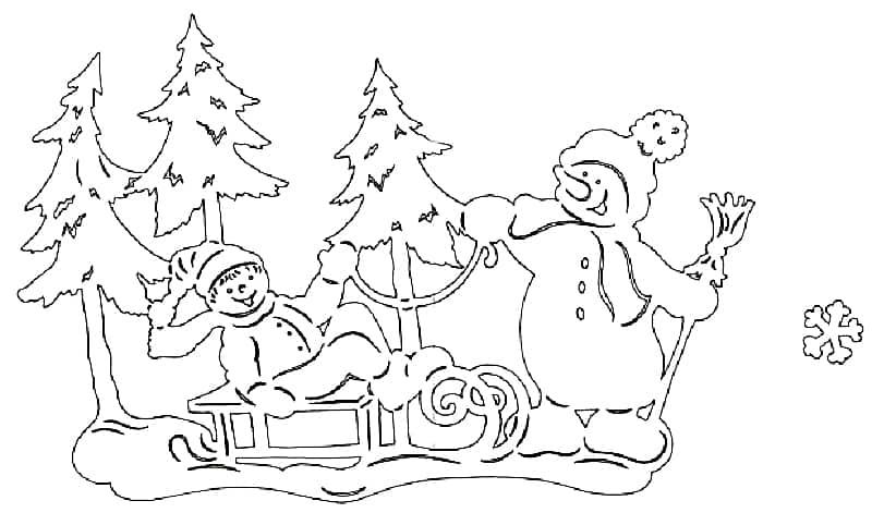 трафарет елка и дед Мороз