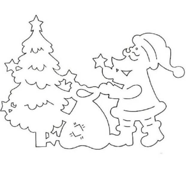 Трафарет Дед мороз с подарками