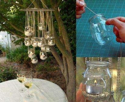 Вы можете сделать даже подвесные подсвечники для дачи своими руками, если проявите немного смекалки.  Пуфик из шин не только наполнит дом уютной об