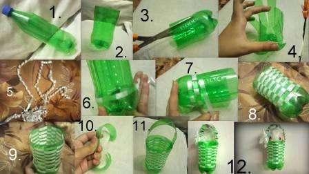 Попробуйте по следующему мастер-классу на фото сделать плетеную корзинку из пластиковой бутылки. Такая поделка станет настоящим украшением интерьера детской комнаты или может использоваться в качестве вазы для цветов.