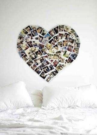 Для  спальни попробуйте сделать мультирамку в форме сердца. Для этого нужно подобрать подходящие по размеру