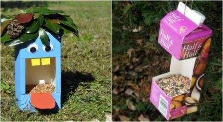Любите птиц, тогда из пакетов от соков и молока сделайте простую кормушку. Такие же кормушки подходят для белочек, поэтому привлекайте на дачный участок других питомцев красивыми поделками из ненужных пред