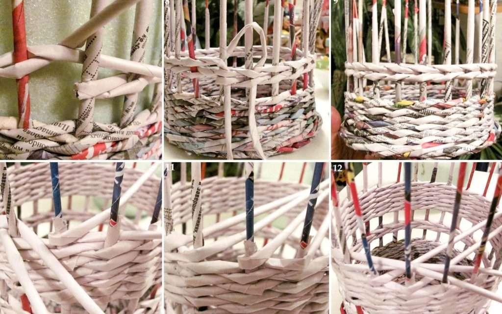Пошаговые советы плетения корзинок из газет