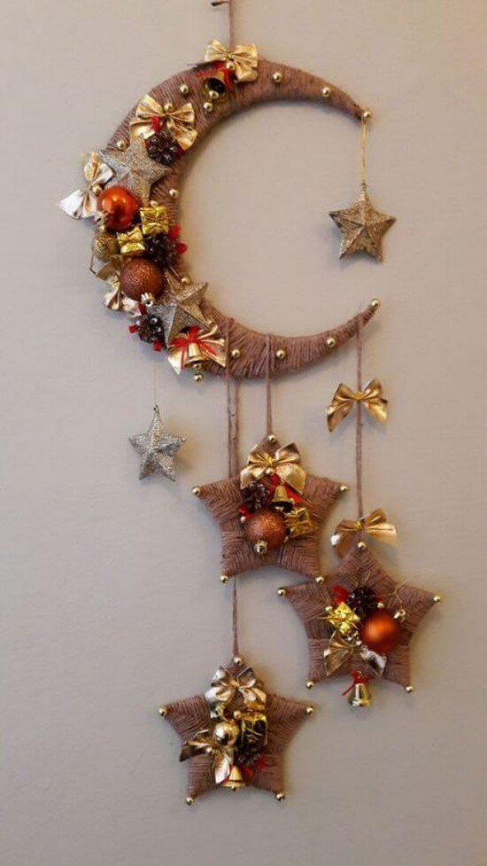 поделка луна со звездами к Новому году
