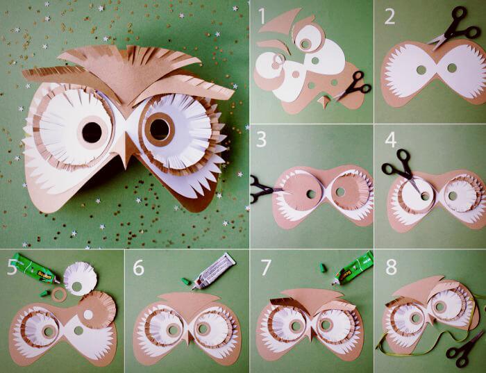 как сделать маску совы из бумаги | Svoimi-rukamy.com